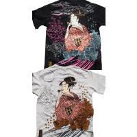 和柄tシャツ 絡繰魂  浮世絵刺繍「喜多川歌麿」半袖Tシャツ tシャツ メンズ 黒 白 292021 UTAMRO 美人画|sousakuzakka-koto|19