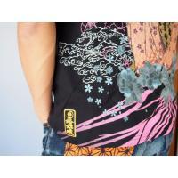 和柄tシャツ 絡繰魂  浮世絵刺繍「喜多川歌麿」半袖Tシャツ tシャツ メンズ 黒 白 292021 UTAMRO 美人画|sousakuzakka-koto|08