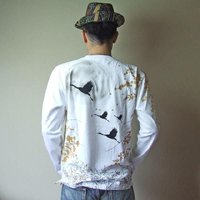 【在庫処分】 和柄 tシャツ 錦 長袖 tシャツ 刺繍 月光鶴 ロンT メンズ 白/黒|sousakuzakka-koto|03