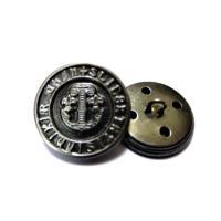 20mm 15mm  シルバ−色x黒色 ジャケット用 メタル(金属)ボタン12個入り