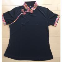 Tシャツ カットソー 綿Tシャツ レディース 半袖 チャイナ風 スタンドカラー  太極拳 カンフー ...