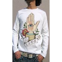 Tシャツ メンズ 長袖 西海岸を想わせるタトゥーテイスト オリジナルロングTシャツ ロンT