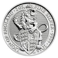 再入荷 ビースト銀貨 ライオン イギリス 2オンス 大人気 コレクション 2016年 未流通品 20...