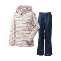 ドットやボーダー柄のフェミニンなジャケットに、無地のパンツを組み合わせたレインスーツ。コロンビア独自...