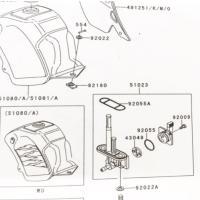 KSR-II(MX080B) 全年式 フューエルコック(ガソリンコック 燃料コック フューエルタップアッシ) 図中(51023番) 51023-0047(51023-1155より品番統一)
