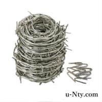 ステンレスの有刺鉄線(バーブドワイヤー)です。 付属の又釘もステンレスです。