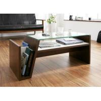 モダンなガラステーブルです。  ■サイズ:W90×D42×H37cm ■材質:MDF材、パーチクルボ...