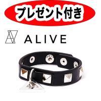 【商品説明】  ALIVEのロゴが入ったトライアングルのチャームと、スタッズが特徴の新しいレザーブレ...