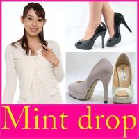 オープントゥ パンプス Mint drop ( ミント ドロップ )(2551) エナメル コンビ ...