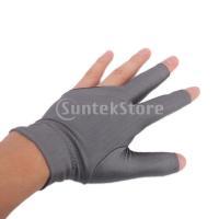 ビリヤードグローブ 左手用 3本指グローブ プロ オープン指先 グレー
