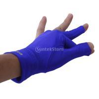 オープン指先 ビリヤードグローブ 左手用 手袋 プロ 3指 グローブ 弾性 柔軟  全4色選べる - ブルー