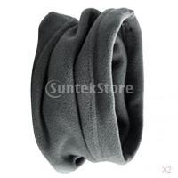 ノーブランド品 2PCS メンズ フリース ネックウォーマー スカーフ マフラー マスク ソフト 防風 防寒対策 暖かい 2色選べる - グレー
