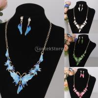 ヴィンテージの蝶の水晶エナメルペンダントネックレスとイヤリングセットピンク