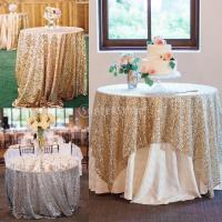 Dovewill 3セット スパンコールテーブルクロス ケーキトッパー 結婚式 花嫁 ウェディング パーティー ゴールド ティアラ 王冠 装飾