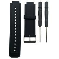 Perfk ウォッチバンド 8色 交換 腕時計ベルト シリコン製 Garmin Vivoactive対応  - ブラック
