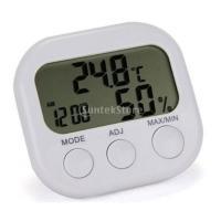 説明: 湿度計と内蔵時計と小型の電子屋内/屋外の温度計。  LCDディスプレイの2行。 室内温度、湿...