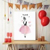 アートパネル アートポスター 油絵 バレエ少女 キャンバス インテリア 壁掛け フレームレス ウォールアート かわいい 30x40cm