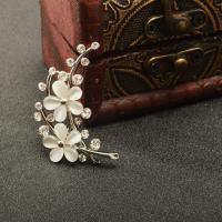 銀色 結婚式 ブライダル ブーケ ラインストーンの花 オパールのブローチピン