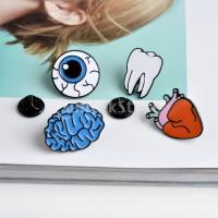 4本の女性の金属合金の脳の歯のハートの目玉ブローチラペルピンの襟の先端