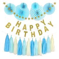 説明: これらの紙のファン、紙のタッセルとバナーは、祝う、誕生日パーティのイベントを飾るための素晴ら...