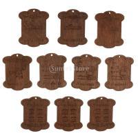 セット 木製 詰め合わせ 裁縫道具 糸ボビン - 5.5*4.4*0.3CM