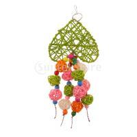 オウム 噛むおもちゃ 鳥用 吊るす玩具 カラフル 籐ボール 遊び玩具 ケージ 装飾