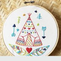 初心者 手刺繍 キット かわいい テント柄 図柄印刷 家 壁 装飾 1セット