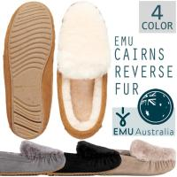 【日本正規品】  EMUで大人気のモカシンシリーズが、毛足の長いファーの折り返しが付いたデザインで登...