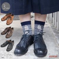 フリンジプレーントゥシューズ 本革 靴 レディース:送料無料
