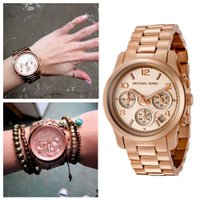 ★Women's Chronograph Rose Gold Tone Dial and Brace...