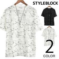 トップス Tシャツ カットソー クルーネック 半袖 ビッグシルエット 大理石プリント ネックレス付き...