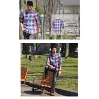チェックシャツ メンズ シャツ Men's Yシャツ カジュアル 麻 フレンチリネン チェック きれいめ shirt 5分袖 7分袖 半袖