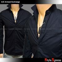 <SALE!定番!アルマーニエクスチェンジ 裾ロゴ ベーシック 無地 長袖シャツ 黒 ブラック A|...