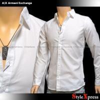 <SALE!アルマーニエクスチェンジ 細かな織り柄 裾ロゴ 長袖シャツ 白 ホワイト A|X Arm...