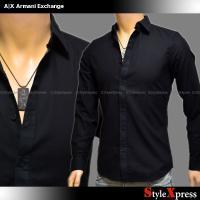 <送料無料!アルマーニエクスチェンジ 細かな織り柄 裾ロゴ 長袖シャツ 黒 ブラック A|X Arm...