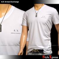 <新作!アルマーニエクスチェンジ ロゴ ストレッチTシャツ Vネック 半袖 白 ホワイト A|X A...