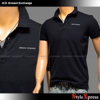 <新作!アルマーニエクスチェンジ ロゴ 鹿の子 ポロシャツ 黒 ブラック A|X Armani Ex...