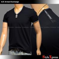 <新作!アルマーニエクスチェンジ 肩ロゴ VネックTシャツ ロゴ 黒 ブラック A|X Armani...