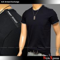 <SALE!新作!アルマーニエクスチェンジ 肩ロゴ ストレッチ Tシャツ ロゴ 黒 ブラック クルー...