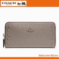 22f1469e3c57 コーチ 財布 長財布 レディース アウトレット COACH ACCORDION WALLET WITH LACQUER RIVETS F23505  リベット スタッズ フォグ メンズ 2018 最新作 国内発