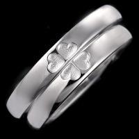 ペアリング 結婚指輪 安い マリッジリング クローバー ストレート シルバー カップル セール