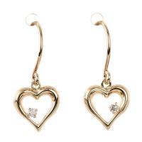 お顔まわり明るく素敵に映えるゴールドの ダイヤモンドハートピアス 耳元にきらめきを添えて おでかけお...