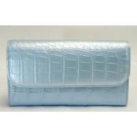 クロコダイル 長財布 二つ折り ライトブルー ヘンローン社製 パール加工 レディース