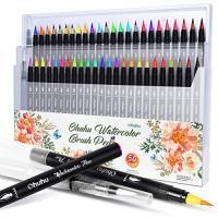 水彩毛筆 48色セット 水ペン2本付き Ohuhu 水彩筆 筆タイプ 水性 水彩画 イラストや手帳に最適 ブラッシュ 筆ペン カラーペン 塗