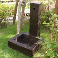 枕木風水栓柱カバー ガーデンパンセット FRP製 枕木調 水洗柱ユニットセット 78820 送料無料|sungarden-exterior