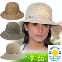 オーストラリアで流行の天然繊維のUVカット帽子。帽子の周りのアクセサリーとの組み合わせがおしゃれです...