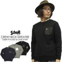 ウール100%で肉厚な、保温性の高い″Schott″のクルーネックセーターです!胸ポケットの鹿革(D...