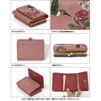 財布 レディース フェイクレザー ハチドリ 花 刺繍 三つ折り ミニ財布