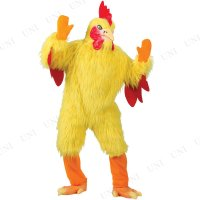 黄色いニワトリの着ぐるみコスチュームです。可愛さよりもリアルさを追求した顔がシュール!    【関連...