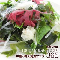 寒天海藻サラダ 100g(40食分) 10種類 海藻 わかめ 赤とさか 青とさか 紅杉のり 緑杉のり 茎わかめ 花桜藻(赤) 花桜藻(青) 白きくらげ 寒天
